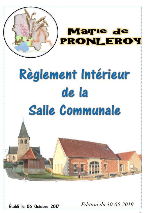 RÈGLEMENT de LOCATION de la SALLE COMMUNALE