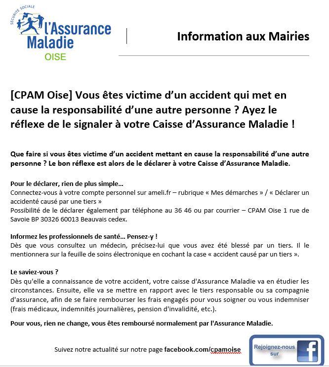 CPAM Oise : communiqué sur le Recours contre tiers