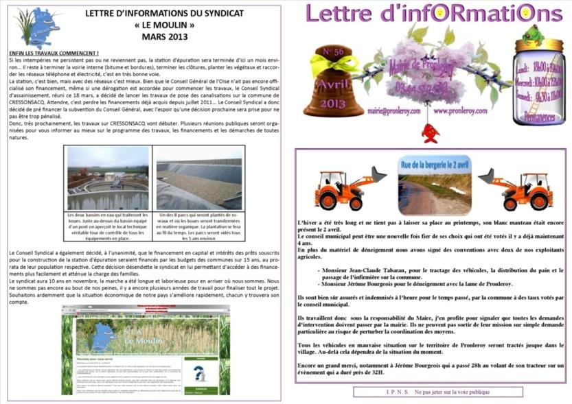 Lettre d'information AVRIL 2013