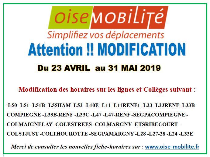 OISE MOBILITÉ...Modifications