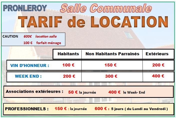 INFORMATIONS :   Location de la Salle Communale