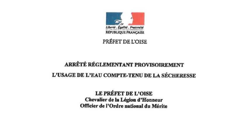 SÉCHERESSE...Arrêté  Préfectoral...