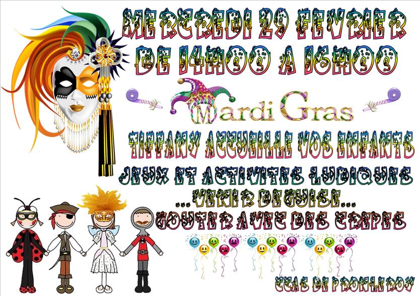 Atelier sur le thème de Mardi Gras, activités ludiques, crêpes et défilé.