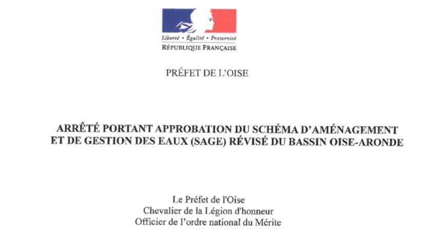 ARRÊTÉ Gestion des Eaux ( SAGE) du bassin OISE- ARONDE