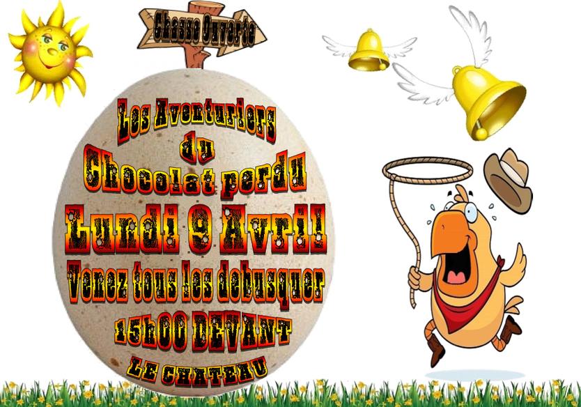 Chasse à l'oeuf: lundi de Pâques à 15h