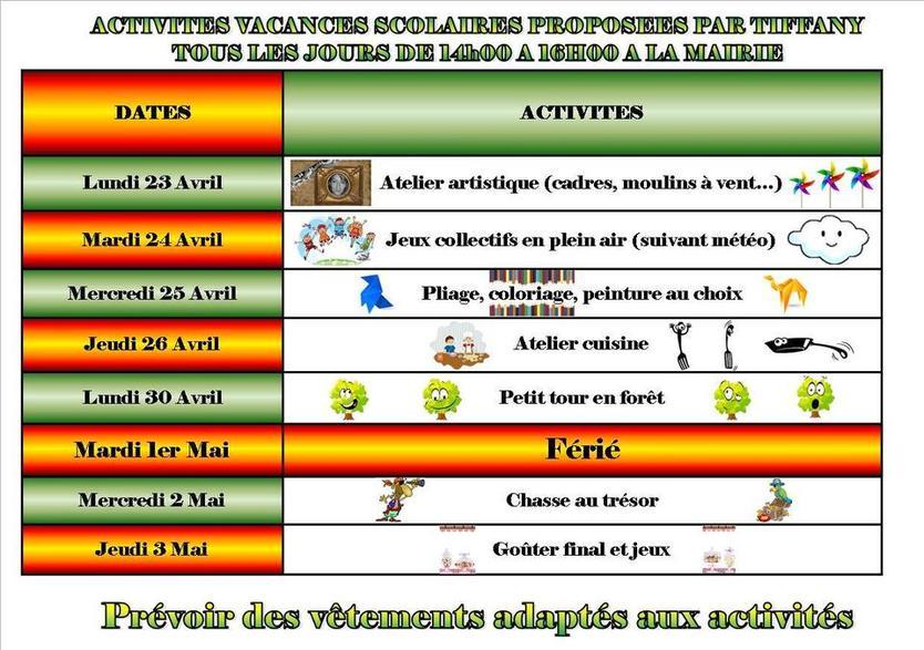 Activités de Tiffany, vacances scolaires du 23/04 au 3/05