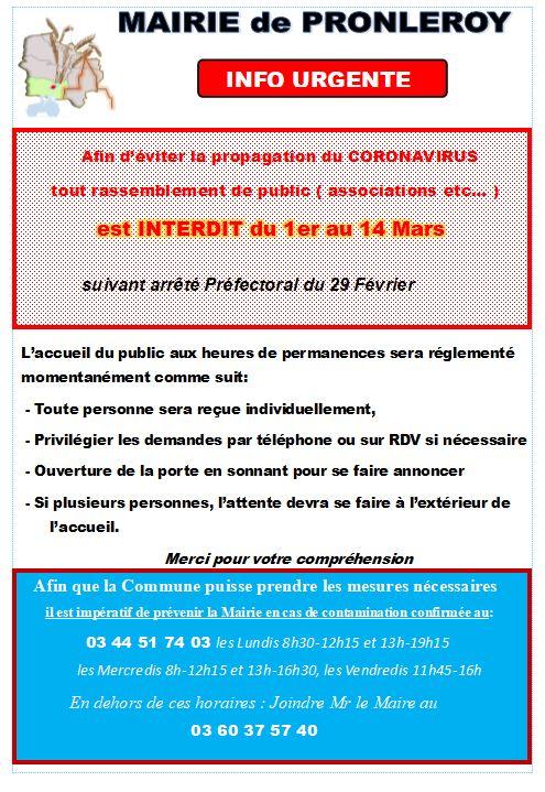 CORONAVIRUS...Consignes de SÉCURITÉ du 1er Mars