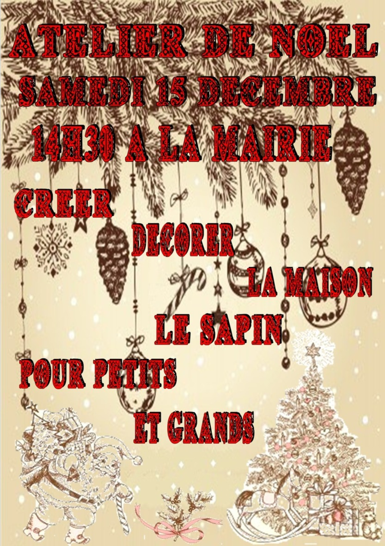 Atelier de Noël Samedi 15 Décembre,