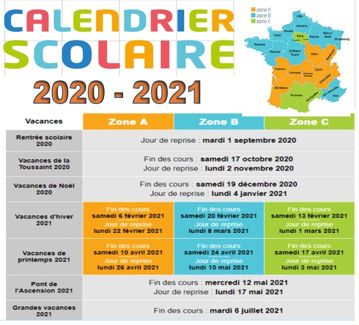 CALENDRIER SCOLAIRE  2020 2021 et horaires de bus