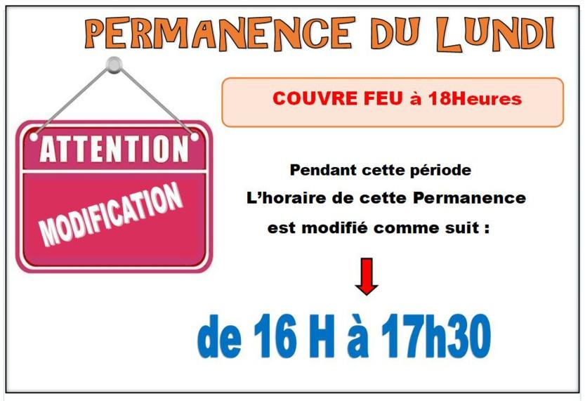 COUVRE FEU / Permanence du Lundi ..HORAIRE MODIFIÉ