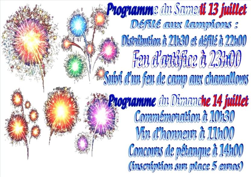Programme des 13 et 14 juillet à Pronleroy