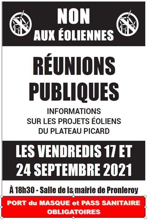 STOP .. EOLIENNES  Réunions publiques  les 17 et 24 Septembre