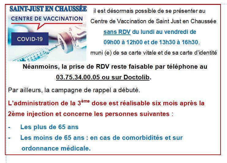 INFORMATION.. Centre de Vaccination St Just en Chaussée