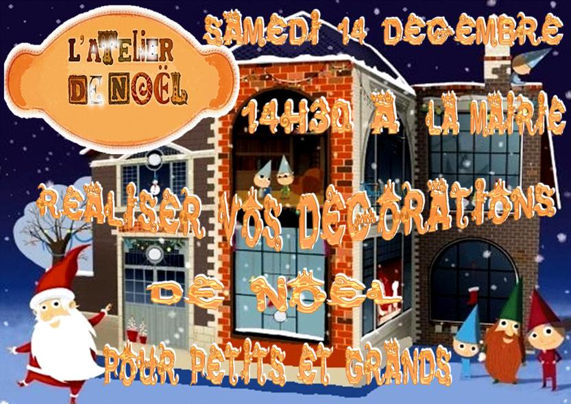 Ateliers de Noël, Samedi 14 décembre à partir de 14h30,