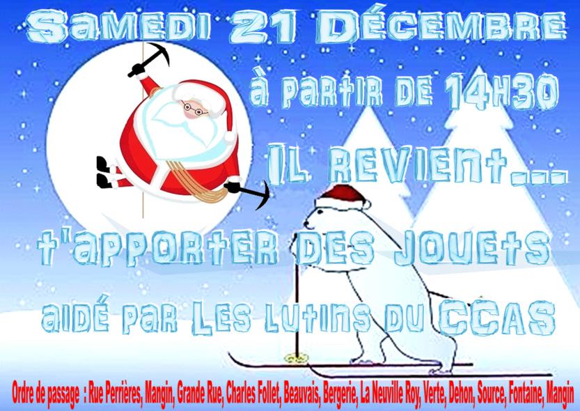 Le Père Noël à Pronleroy le Samedi 21 décembre à partir de 14h30, cliquez sur l'affiche pour voir son itinéraire ...