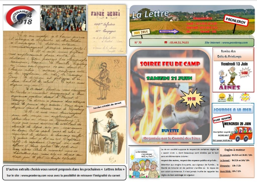 Lettre d'infos  Juin 2014 N°70