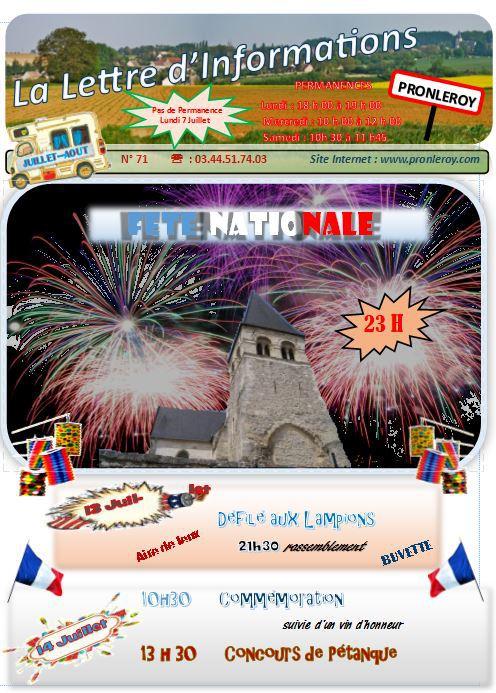 Lettre d'Infos Juillet & Aout 2014 N°71