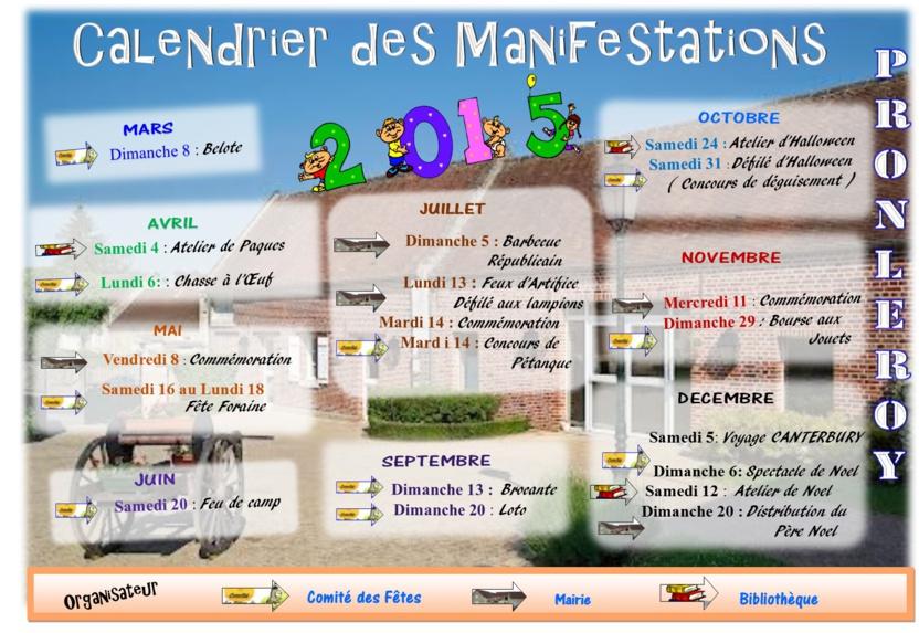 CALENDRIER des MANIFESTATIONS 2015