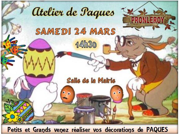 ATELIER de PÂQUES     Samedi 24 Mars