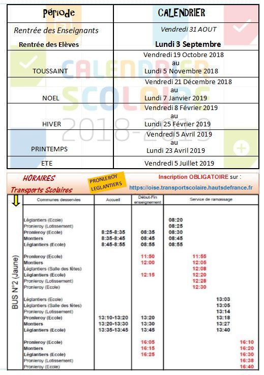 CALENDRIER SCOLAIRE 2018 / 2019 et Horaires transports