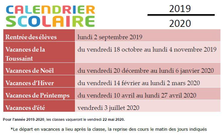 Calendrier Scolaire Mai 2020.Calendrier Scolaire 2019 2020