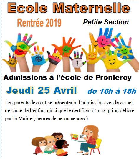 INSCRIPTIONS 2019.... Ecole Maternelle
