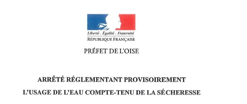ARRÊTE RÉGLEMENTANT PROVISOIREMENT L'USAGE de L'EAU du 10 Mars 2020