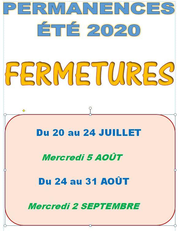 PERMANENCES MAIRIE ..ÉTÉ 2020