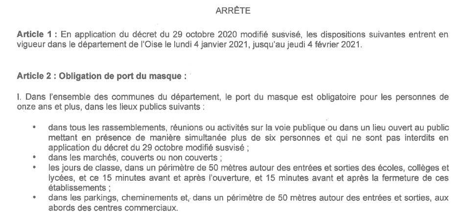 COVID 19 : Arrêté du 30-12 Prolongement port du masque