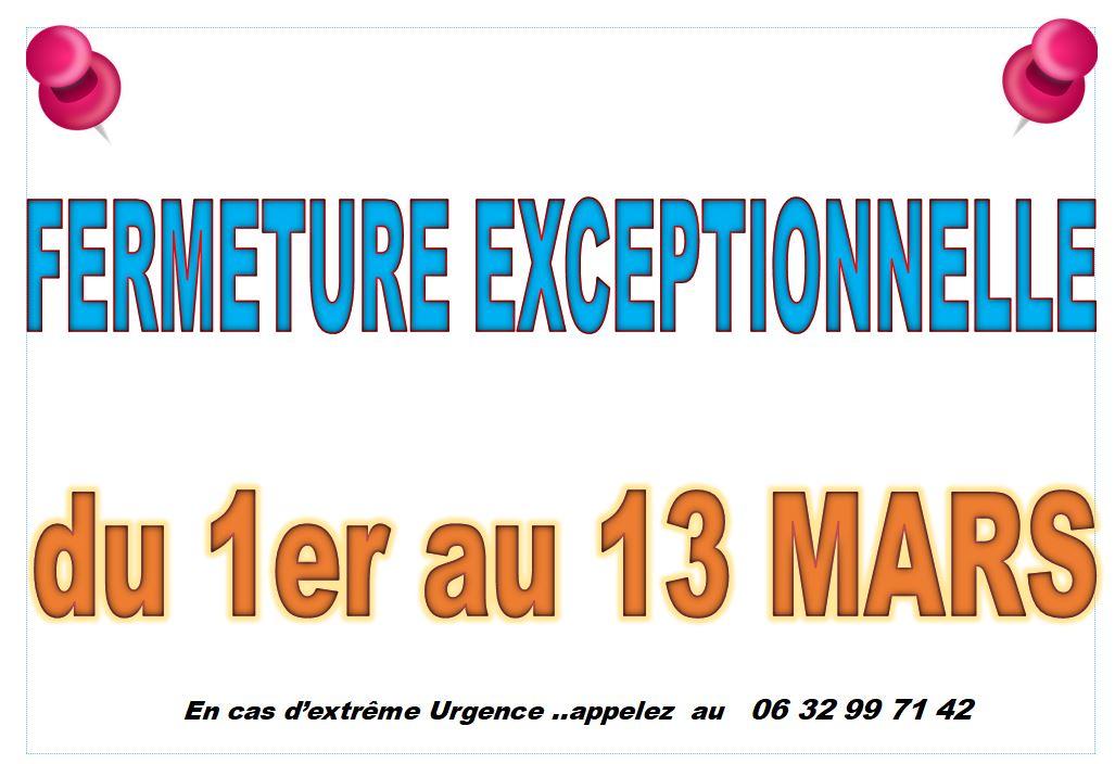 PERMANENCES: FERMETURE EXCEPTIONNELLE DU 1er AU 13 MARS