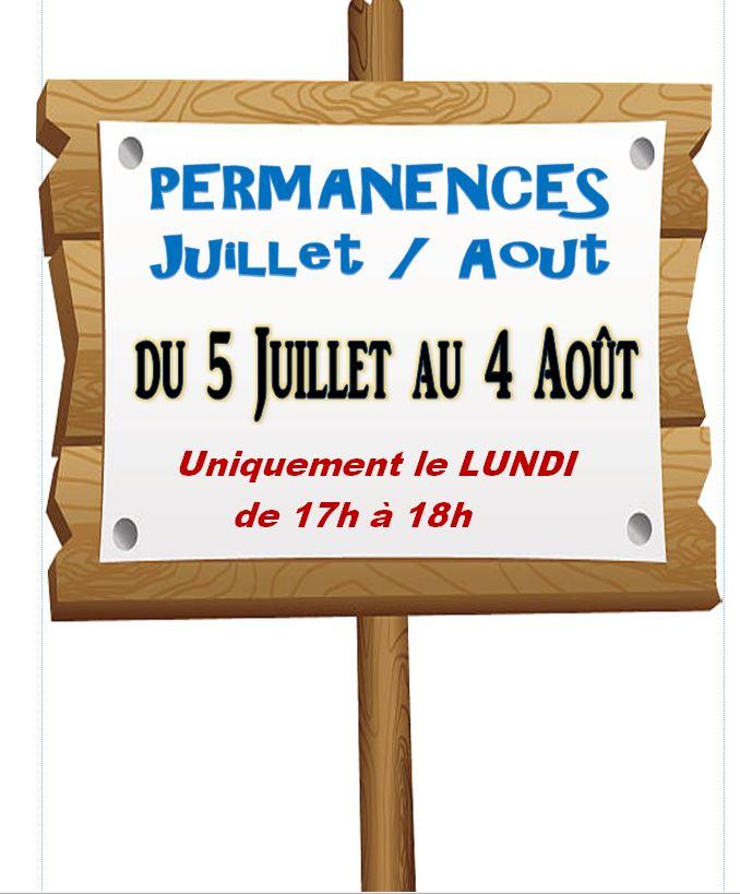 PERMANENCE... JUILLET / AOUT 2021