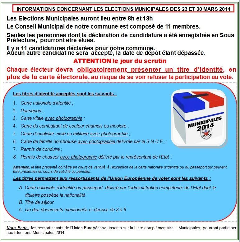 Elections Municipales des 23 et 30 mars,