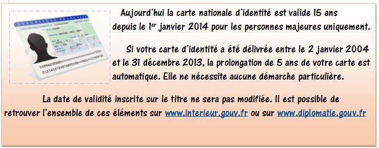 INFORMATIONS sur les cartes d'identités